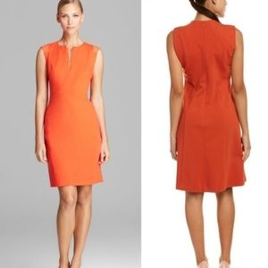 Lafayette 148 New York Orange Dress with Leather